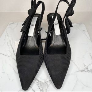 ZARA Slingback Kitten Heel Black Heels